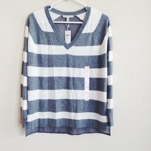Banana Republic Gray Striped Sheer Back Sweater